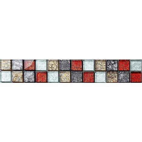 Autumn Mix Red Gold Silver Glass Mosaic Wall Tile Strips Border Bathroom MB0091