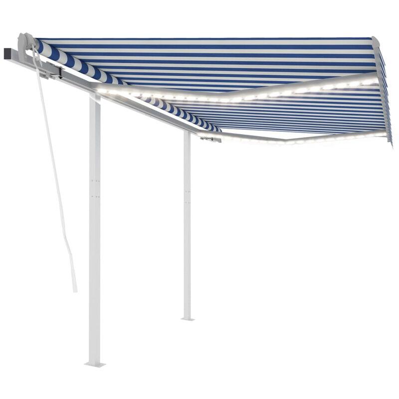 Auvent automatique capteur de vent et LED 3x2,5 m Bleu et blanc
