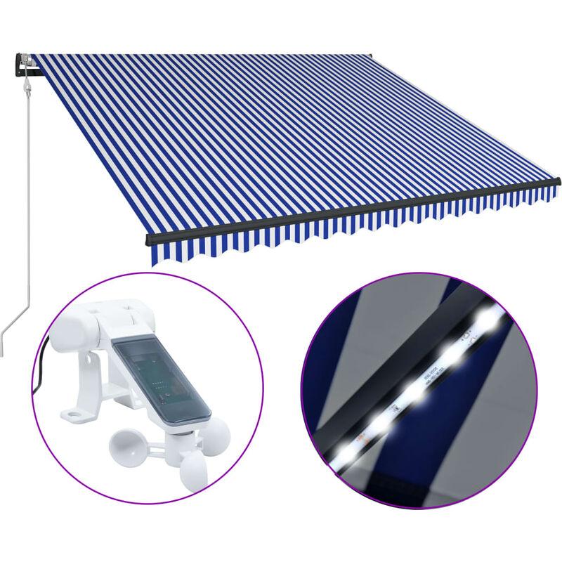 Auvent avec capteur de vent et LED 300x250 cm Bleu et blanc