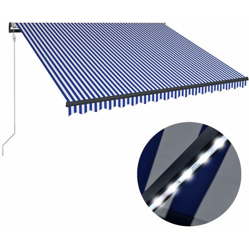 Auvent avec capteur de vent et LED 450x300 cm Bleu et blanc
