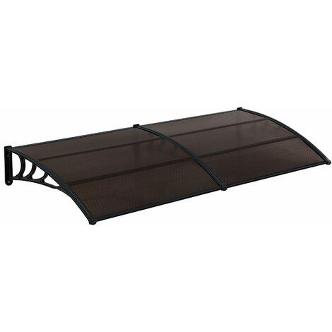 Auvent de porte marquise résistante aux intempéries ABS polycarbonate aluminium 300 x 100 cm noir marron - Marron