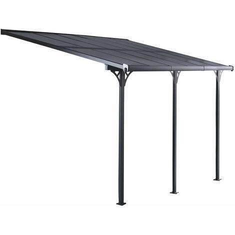 Auvent Elliot 15 m² d'aluminium et polycarbonate Gardiun 497x305x227/272 cm