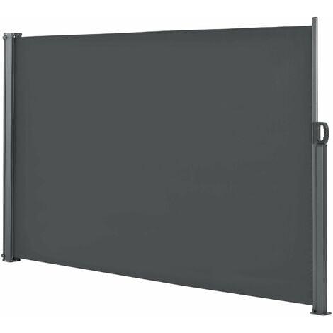 Auvent latéral brise-soleil baldaquin garde-vue pare-soleil métal et polyester 160 x 300 cm gris - Gris