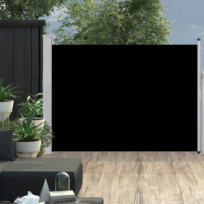 Auvent lateral retractable de patio 100x500 cm Noir