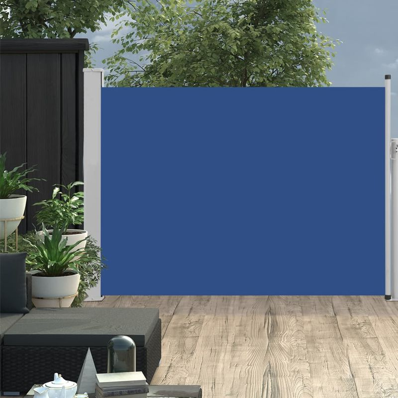 Auvent lateral retractable de patio 120x500 cm Bleu