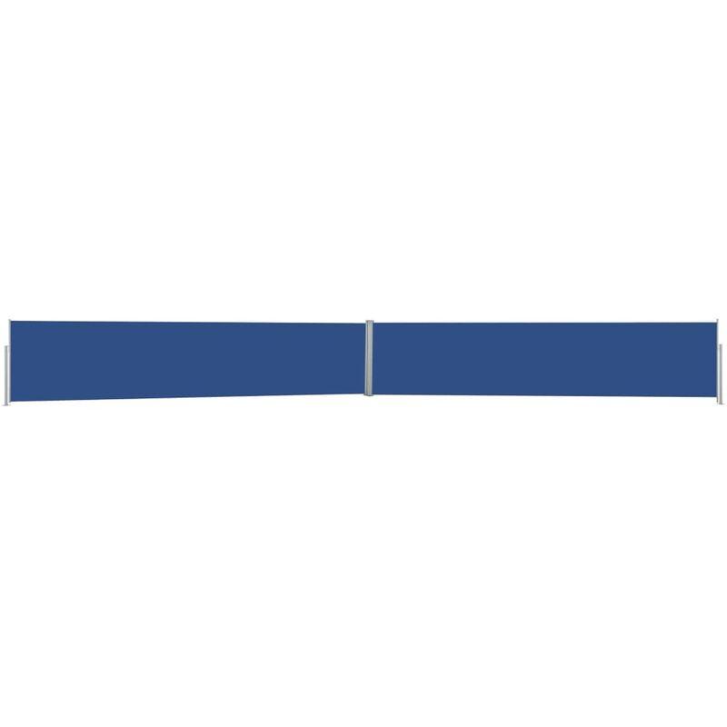 Auvent latéral rétractable de patio 140x1200 cm Bleu