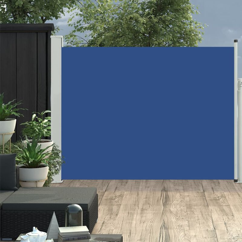 Auvent latéral rétractable de patio 140x500 cm Bleu