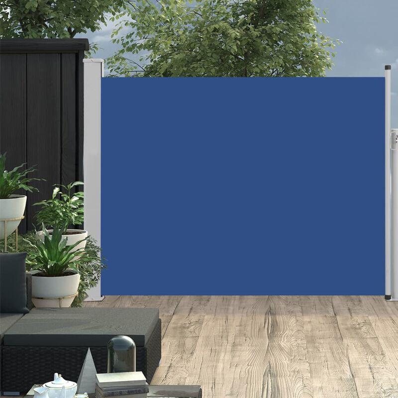 Auvent lateral retractable de patio 140x500 cm Bleu