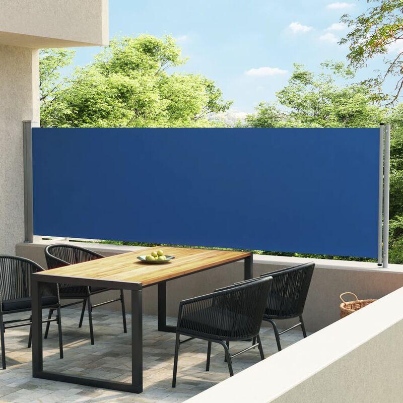 Auvent latéral rétractable de patio 140x600 cm Bleu