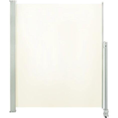 Auvent latéral rétractable de patio 160 x 300 cm Blanc cassé
