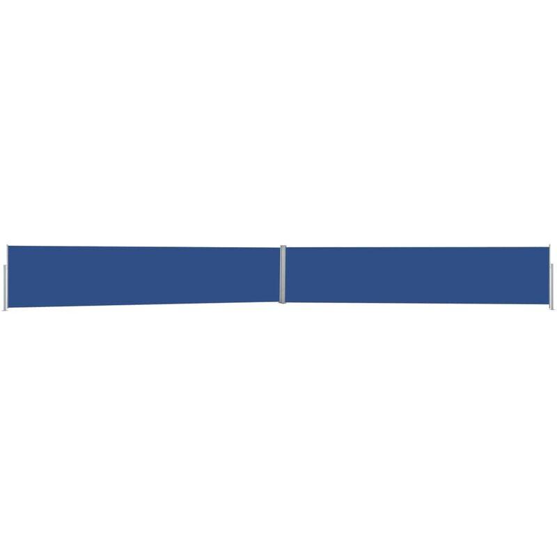 Auvent latéral rétractable de patio 170x1200 cm Bleu