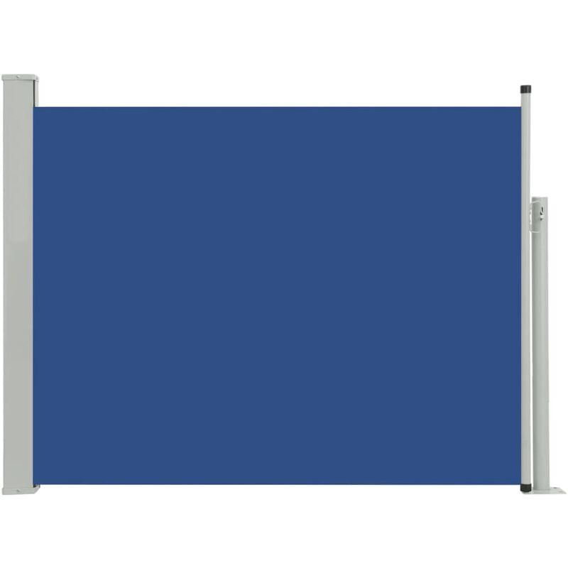Auvent Latéral Rétractable de Patio Bleu 140x500 cm