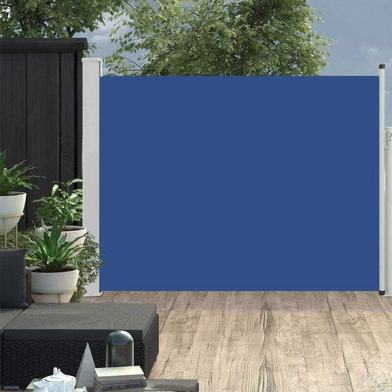 Auvent latéral rétractable de patio 170x500 cm Bleu