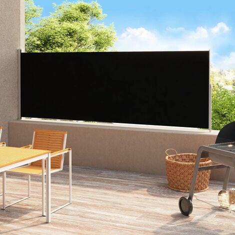 Auvent latéral rétractable de patio 180x500 cm Noir