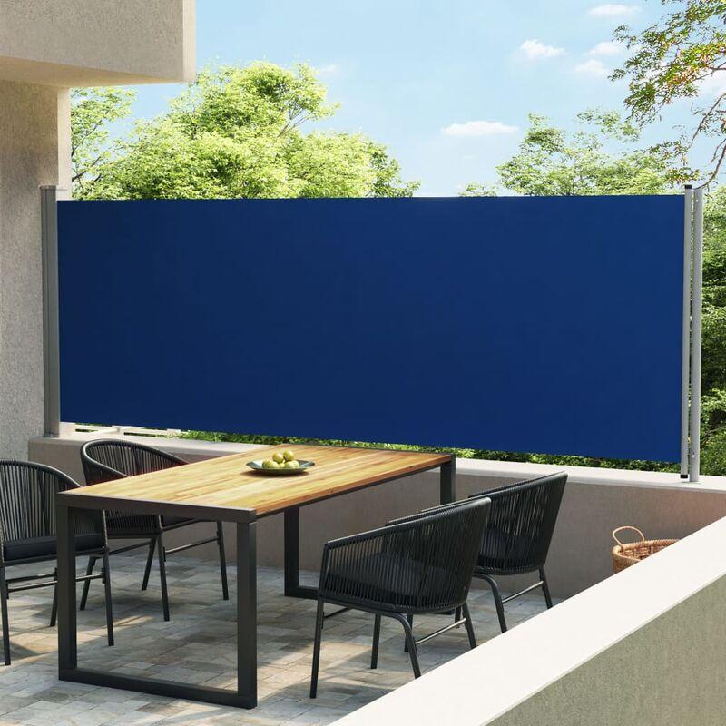 Auvent latéral rétractable de patio 600x160 cm Bleu