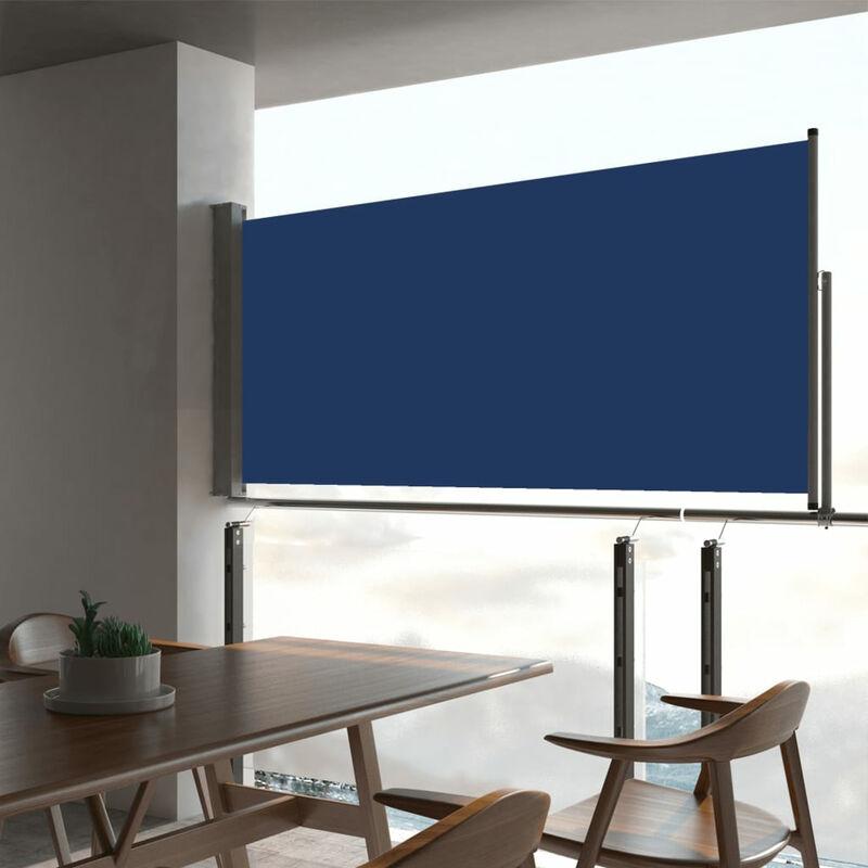 Auvent lateral retractable de patio 60x300 cm Bleu