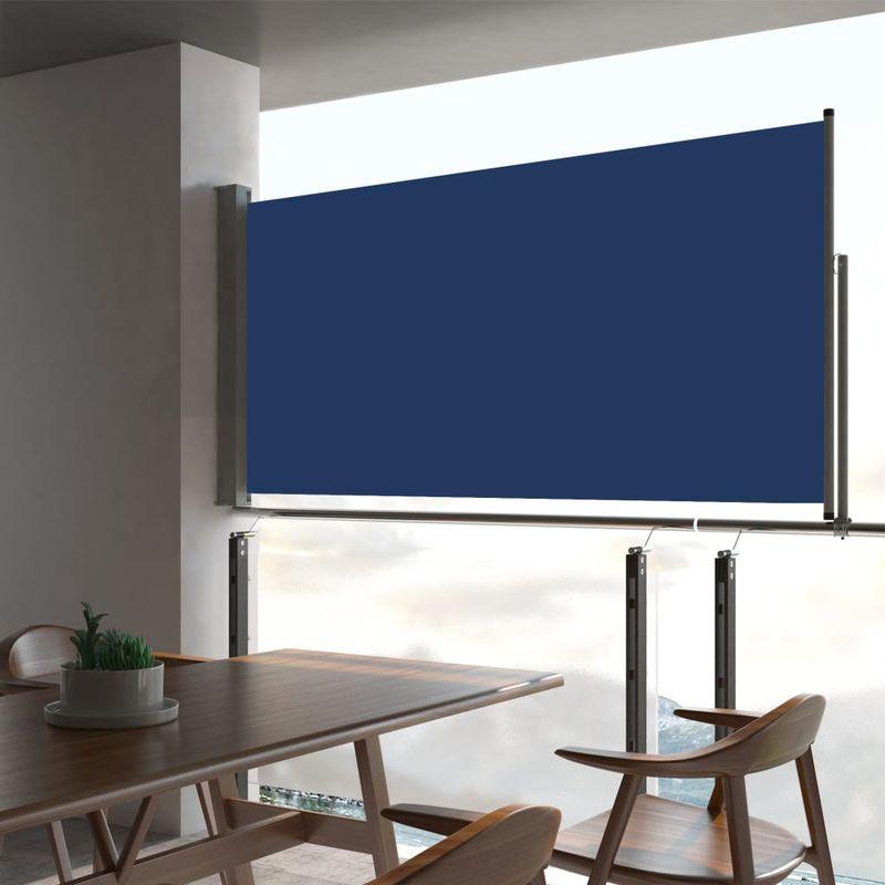 Auvent lateral retractable de patio 80x300 cm Bleu