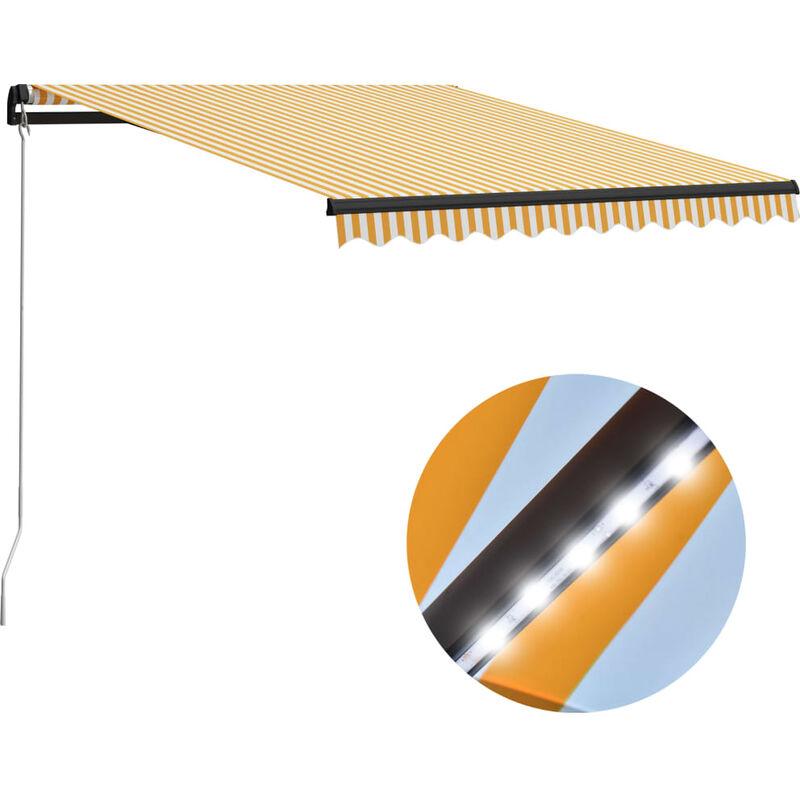 Auvent manuel rétractable avec LED 300x250 cm Jaune et blanc