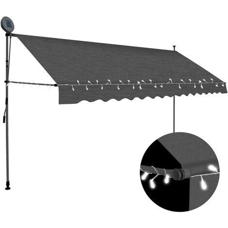 Auvent manuel rétractable avec LED 400 cm Anthracite
