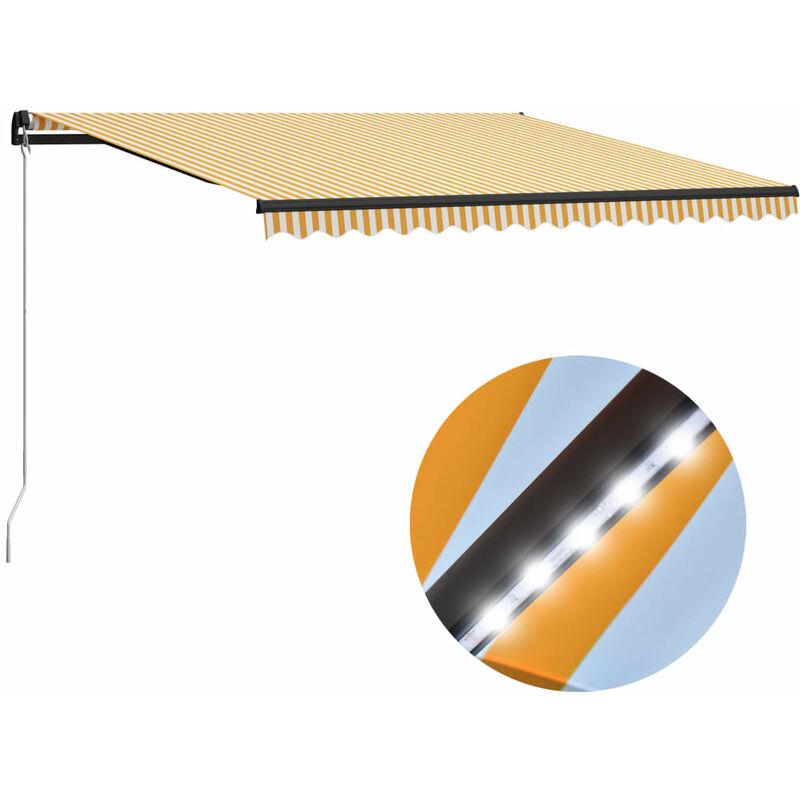 Auvent manuel rétractable avec LED 400x300 cm Jaune et blanc