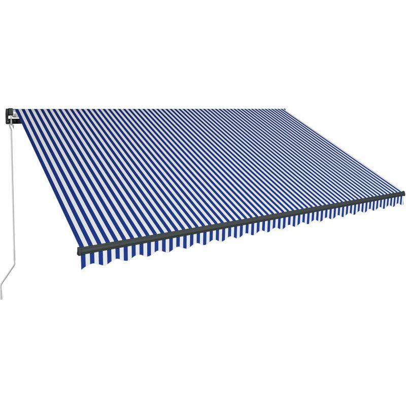 Auvent manuel rétractable avec LED 500x300 cm Bleu et blanc