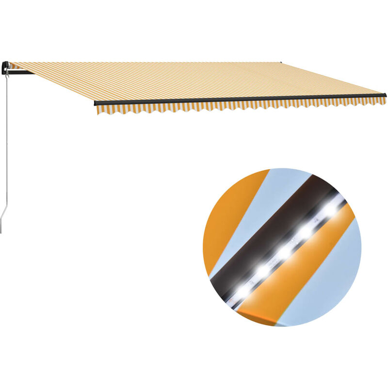 True Deal - Auvent manuel rétractable avec LED 600x300 cm Jaune et blanc
