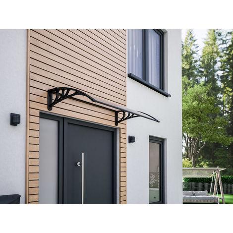 Auvent marquise de porte, 120 x 80 cm, polycarbonate alvéolaire, fixations en plastique noir