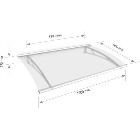 Auvent marquise de porte, 150 x 95 cm, LT-Line, opaque, fixation blanche