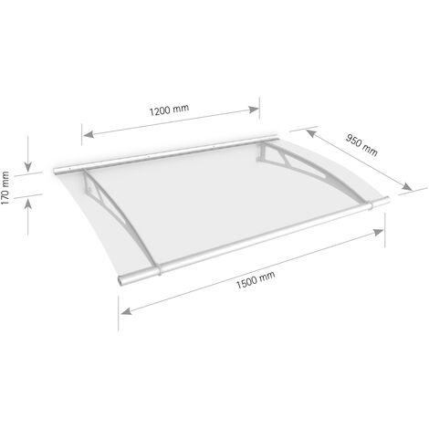 Auvent marquise de porte, 150 x 95 cm, LT-Line, transparent, fixation blanche, Inova