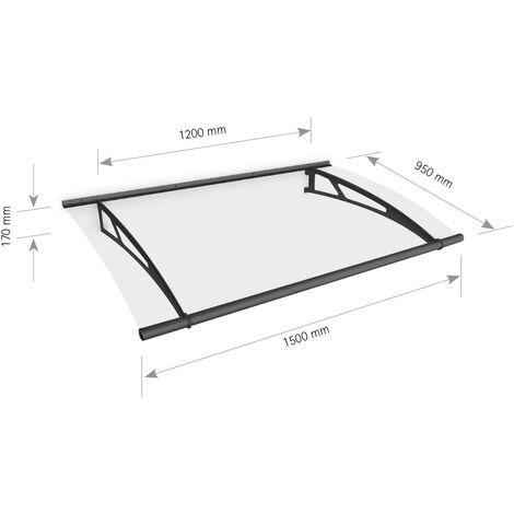 Auvent marquise de porte, 150 x 95 cm, LT Line, transparent, fixations en anthracite