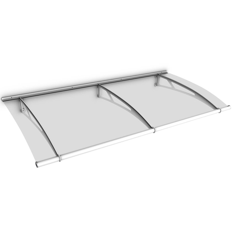 Auvent marquise de porte, 190 x 95 cm, LT-Line, transparent, fixations blanches