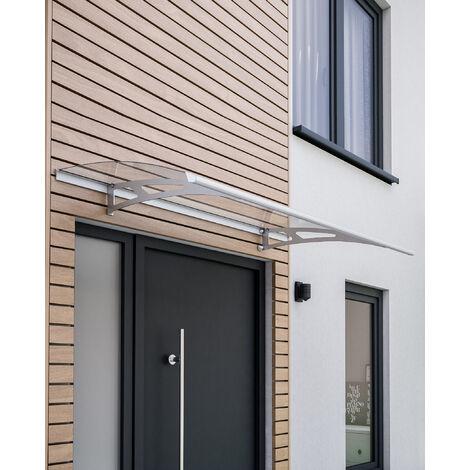 Auvent marquise de porte, 200 x 90 cm, Style Plus, polycarbonate transparent, fixation acier inox, Classic