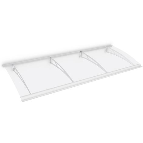Auvent marquise de porte, 240 x 90 cm, Style Plus, polycarbonate transparent, fixation blanche, Classic