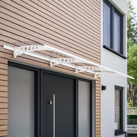 Auvent marquise de porte, 240 x 90 cm, Style Plus, polycarbonate transparent, fixations en acier blanc, Circle