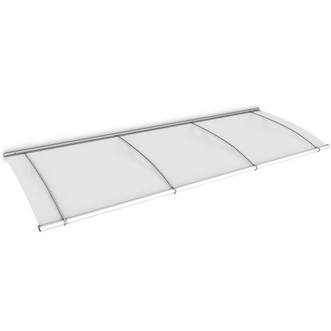 Auvent marquise de porte, 270 x 95 cm, LT Line, opaque, fixations blanches