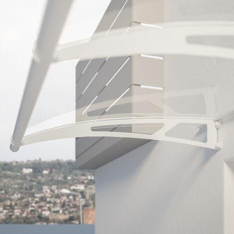 Auvent marquise de porte, 270 x 95 cm, LT Line, transparent, fixation blanche