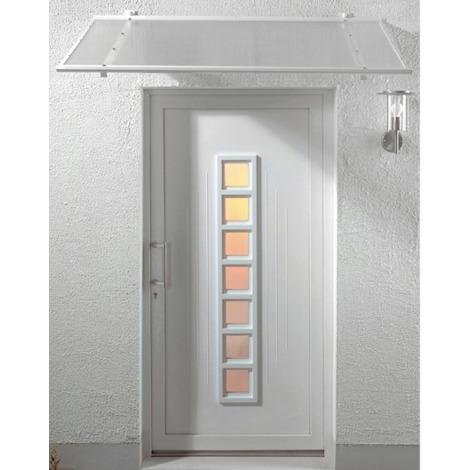 Auvent - Marquise de porte d'entrée Justine (livraison offerte) - Coloris stucture - Blanc, Longueur totale - 155 cm, Profondeur totale - 90 cm