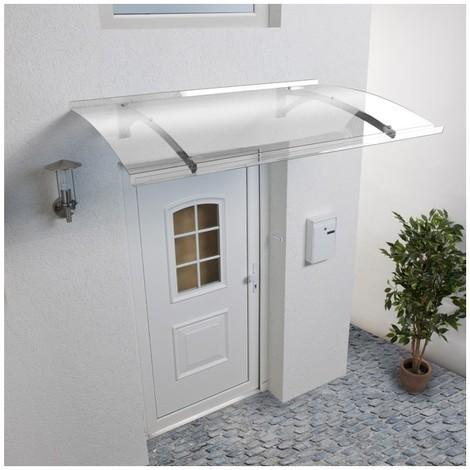 Auvent - Marquise de porte d'entrée Mélanie (livraison offerte) - Coloris stucture - Inox, Longueur totale - 150 cm, Profondeur totale - 90 cm