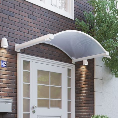 Auvent marquise de porte voûté, 163 x 90 cm, Basic, transparent, fixation blanche