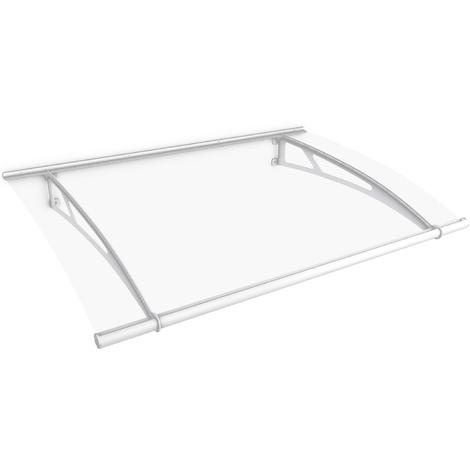 Auvent marquise de porte XL, 205 x 142 cm, transparent, fixations blanches