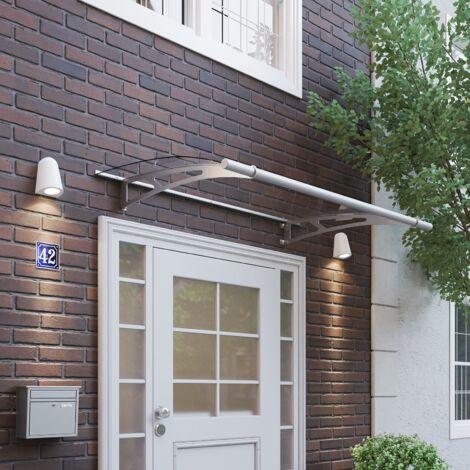 Auvent marquise de porte XL, 205 x 142 cm, transparent, fixations inox