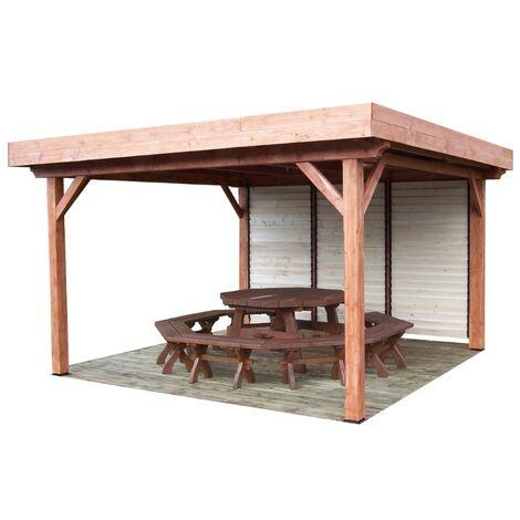 Auvent OMBRA toit plat avec ventelles mobiles sur 1 côté