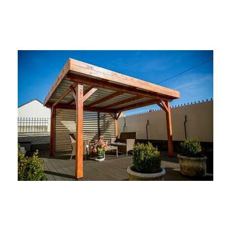 Auvent OMBRA toit plat couverture bac acier livré avec ventelles mobiles 12,53 m2