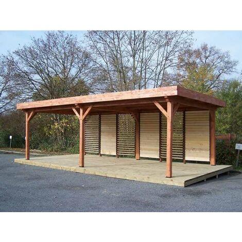 Auvent OMBRA toit plat - S.h.t. : 24,64 m2 - très grandes dimensions couverture bac acier + ventelles mobiles