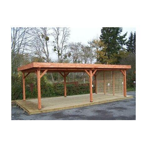 Auvent OMBRA toit plat très grandes dimensions couverture bac acier et avec treillage en bois 24,64 m2