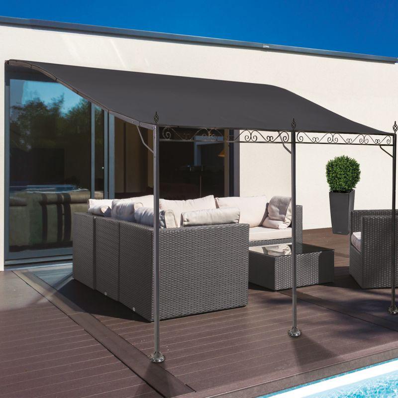 auvent pergola adossé pour terrasse gm 3 x 4 m avec toile grise - 12603