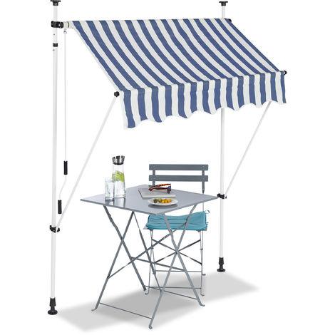 Auvent rétractable 150 cm Store balcon marquise soleil terrasse hauteur réglable sans perçage, bleu-blanc