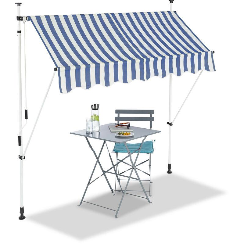 Relaxdays - Auvent rétractable 200 cm Store balcon marquise soleil terrasse hauteur réglable sans perçage, bleu-blanc