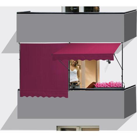 Auvent Rétractable 200 x 130 cm Manuel Store Fenêtre Terrasse Jardin Extérieur Store Balcon bordeaux