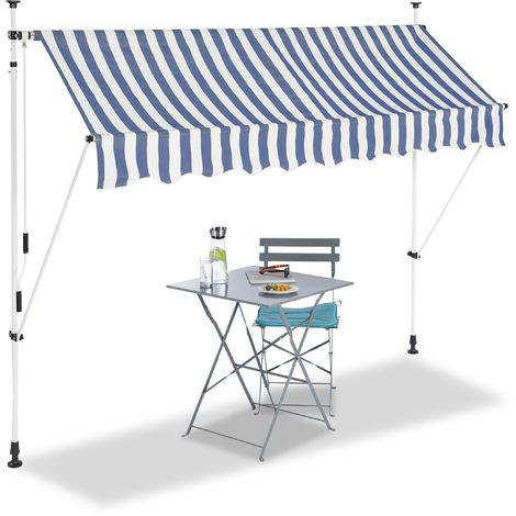 Auvent rétractable 250 cm Store balcon marquise soleil terrasse hauteur réglable sans perçage, bleu-blanc